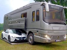 The dreamy luxury Performance S motorhome, by German company Volkner Mobil, is so large that it comes with a built-in garage underneath the vehicle to Luxury Motorhomes, Rv Motorhomes, Mobile Garage, Caravan Salon, Teardrop Camping, Best Luxury Cars, Recreational Vehicles, Cool Cars, Chevy
