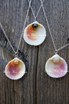 Pearl dangle necklace beautiful colorful shell by KaliaKaiDesigns