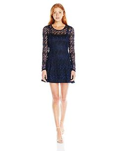 Speechless Juniors 2tone Chevron Lace Ls Fit and Flare NavyBlack XS ** Click image to review more details.