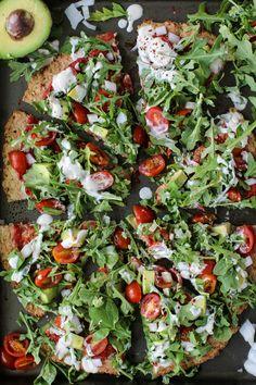 Cauliflower Crust Pizza with Arugula, Avocado,