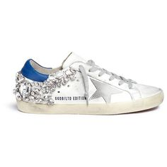 Golden Goose 'Superstar' strass embellished smudged leather sneakers ($1,595) ❤ liked on Polyvore featuring shoes, sneakers, white, distressed leather shoes, golden goose sneakers, white leather trainers, distressed shoes and star shoes