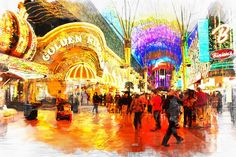 People moving on the street and lights Fremont Street, Las Vegas, Digital Art, Fair Grounds, Lights, People, Travel, Viajes, Trips
