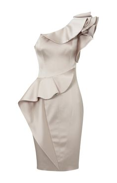 Karen Millen Curvaceous Satin Dress Champagne ,fashion karen millen outlet
