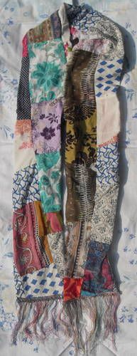 Leftover Patchwork - Scarf - Could actually quilt this too with Kantha stitching