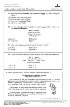 Prueba Leo, Comprehension Exercises, Reading Comprehension, Reading Comprehension, Second Best, Lion