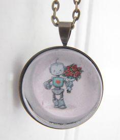 Bring me Flowers -Robot Necklace