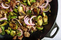 Sautéed Brussels Sprouts With Sausage and Pickled Red Onion