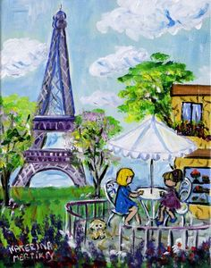 View and buy this Acrylic on Canvas Painting by Katerina Mertikas Sold ..keeping memories of Paris alive.
