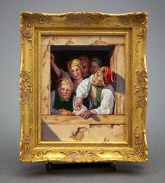 """""""Children at a Window, After Waldmuller (Austrian,1853)"""" by Johannes Landman in a handcrafted frame; he makes all his frames. B. in the Netherlands, later lived in Spain & now in Victoria, B.C. He paints across a wide range of subject matter which he reinterprets in his own style. The Kansas City Toy & Miniature Museum is home to a large collect. of his paintings; 1 of his highlighted pieces is a fully-funct. harpsichord that he carved & painted 