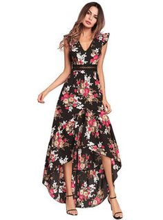 866e7a68142df Short Sleeves Floral Print Draped Maxi Dress in 2019   Fashionable ...