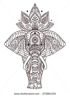 Greeting Beautiful card with Elephant. Frame of peacock made in vector. Perfect cards, or for any other kind of design, birthday and other holiday.Seamless hand drawn map with Elephant - koop deze stockvector op Shutterstock en vind andere afbeeldingen. Mandala Drawing, Mandala Tattoo, Mandala Art, Mandala Elephant Tattoo, Henna Elephant, Peacock Tattoo, Sternum Tattoo, Zentangle Patterns, Zentangles