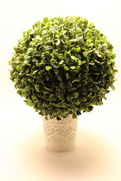 One 12 in Faux BOXWOOD TOPIARY BALL Pomander Long Leaf Shrub Plant Artificial Green Centerpiece Floral Supplies Kissing Flower Moss Wedding $30