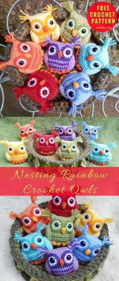 Nesting Rainbow Crochet Owls [Free Pattern] Amazing Amigurumi Owls perfect build. 5 languages Wide-eyed owls in rainbow colors. Pretty mossy nests are made to snuggle up to them by all children. Very precise instruction in PDF, it's enough to follow them to make this project similar to 100%. These little sweet creatures would look in any color variations. #crochet #freepattern #owlamigurumi