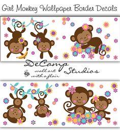 Girl monkey wallpaper border wall art decals for baby girl nursery or children's room jungle decor #decampstudios