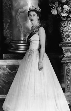 British Royalty. Queen Elizabeth II of England, Buckingham Palace, London, England, 1956.