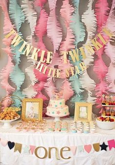 "This ""Twinkle Twinkle Little Star"" first birthday party, featured on Project Nursery, is a fabulous way to celebrate your baby turning one year old. With pink, coral, and mint decoration ideas, this beautiful birthday bash is every little girl's dream!"