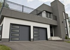 Garaga - Standard+ garage doors, model XL, Charcoal, left-side harmony   window layout