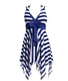 Navy Blue White Stripes Swim Dress Swimwear One Piece Swimsuit:Summer Fashion: Spring Outfits:Casual Outfits:Cute Outfits: Summer Outfits: Spring Outfits:Spring Outfits