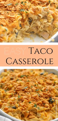 THE BEST Taco Casserole: grab some shredded rotisserie chicken, egg noodles, taco seasoning and a whole lot of cheese to make this simple and delicious casserole dinner. An easy mom and kid approved pasta bake! #easydinner, #weeknightdinners