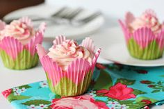 Maraschino Cherry Almond Cupcakes (LOVE, love, LOVE the flower cupcake papers!)