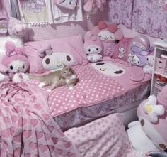 Room Ideas Bedroom, Bedroom Inspo, Bedroom Decor, Bedroom Stuff, Pastel Room, Pink Room, Dream Rooms, Dream Bedroom, Hello Kitty Rooms