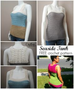 Seaside Tank Free Pattern in XS, easily adjustable, with free giveaway for sizes S, M, L, 1x and 2x coming in one week.