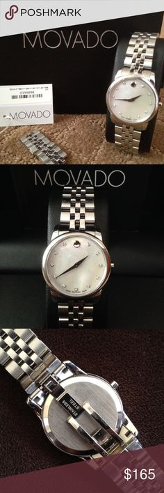 "Movado ""Museum"" watch- Style # 606612 Don't pass up this Swiss quartz timepiece. This dainty classic can be worn day or night. Mother of pearl face measures 28 mm with 11 diamond accents (0.043 t.c.w.) and signature Movado dot. Stainless steel band with deployment clasp can fit 6.5 to 7.5 wrist. Watch comes with original packaging and extra links. Excellent used condition. Movado Accessories Watches"
