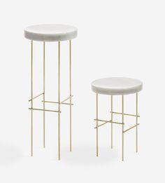 Marblelous Pedestals in Carrara and Brass | DSHOP