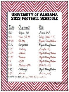 2013 University of Alabama printable football schedule by Girl Meets Gameday