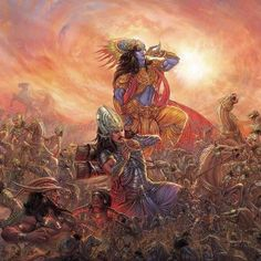 Victorious blows on a conchs by Sri Acyuta and Arjuna just after the Bhagavad-gita was spoken and the battle of Kurukshetra begun.