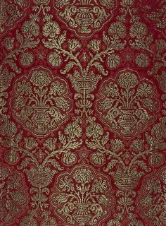 """"""" Silk Brocade with a Pomegranate Pattern, Italy or Spain, 16th century """""""
