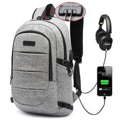 Men Oxford USB Charging Port Headphone Backpack Leisure Travel Bag Coded Lock Laptop Bag