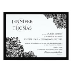 Black Lace Formal White Wedding Invitations