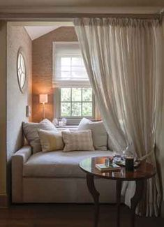 A designed by charlene kennerknecht, is a cocoon of serenity Meditation Corner, Meditation Space, Beautiful Houses Interior, Beautiful Homes, Beautiful Interiors, Cozy Reading Corners, Reading Nooks, Reading Areas, Home Design Magazines