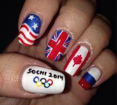 Winter Olympics 2014, Olympic nail art, Olympic nails, Sochi 2014 ~ Good but I would do Italy