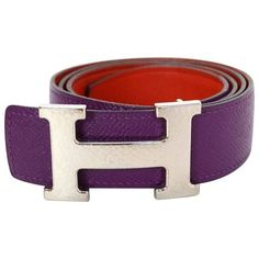 Preowned Hermes Purple & Orange Leather Reversible H Belt Kit Sz 85... ($750) ❤ liked on Polyvore featuring accessories, belts, purple, real leather belts, buckle belt, 100 leather belt, hermès and reversible belt