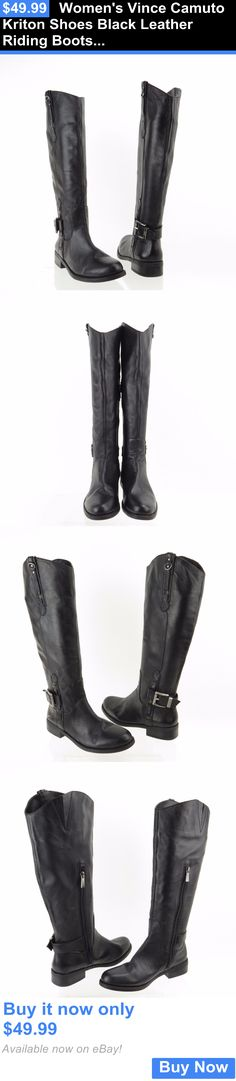 Women Boots: Womens Vince Camuto Kriton Shoes Black Leather Riding Boots Size 6 M New! BUY IT NOW ONLY: $49.99