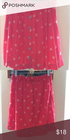 Red bicycle print pleated high waisted skirt Target high-waist skirt, pleats, bicycle print, red, polyester, gray buttons, belt loops Xhilaration Skirts A-Line or Full
