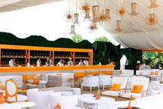 The orange and white decor at the Veuve Clicquot's Polo Classic