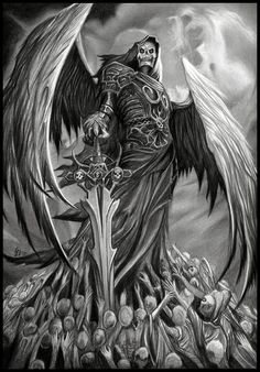 death tattoo creative tattoos angel of death awesome tattoos art ideas Grim Reaper Art, Grim Reaper Tattoo, Don't Fear The Reaper, Dark Fantasy Art, Fantasy Artwork, Dark Art, Skull Tattoos, Body Art Tattoos, Angels And Demons