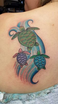 Turtle tattoo me and my kids Sea turtle with waves unhealed