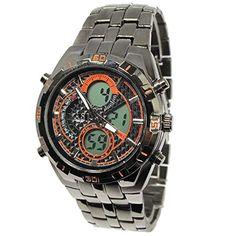 MapofBeauty Mens Sports Black Dial Dual Display Schwarz-Edelstahl-LED elektronische Uhr (orange) - http://uhr.haus/mapofbeauty/mapofbeauty-mens-sports-black-dial-dual-display-4
