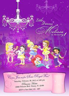 Disney Baby Princess - Personalized Birthday Party Invitation - Aurora, Snow White, Cinderella, Ariel, Belle, Jasmine via Etsy