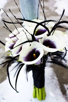 Picasso calla lilies, woven together with black twigs and feathers and tied with black satin.