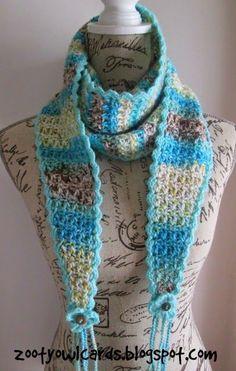 Rally Scarf by Zelna Olivier - Free Crochet Pattern - (ravelry) Yay! I love Zooty Owl 😃 Crochet Triangle Scarf, Tunisian Crochet, Knit Or Crochet, Crochet Scarves, Crochet Clothes, Crochet Stitches, Free Crochet, Crochet Patterns, Poncho Patterns