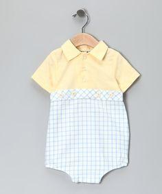 Yellow & Blue Polo Bodysuit - Infant