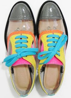 Ground Zero x Alex & Rose Neon Clear Brogues #Shoes #ColorBlock <3