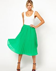 ASOS Midi Skirt with Pleats    I just need to figure out what color I want!