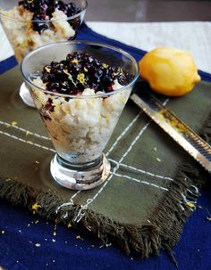 Lemon and Vanilla Bean Rice Pudding with Blueberry Compote | 10th Kitchen