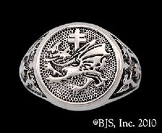 Dracula& Order of the Dragon Signet Ring, Silver, New, Vlad Tepes, Your Size